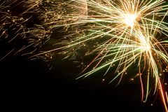 Colorful fireworks over dark sky. Colorful bright fireworks over dark night sky Stock Image