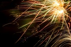 Colorful fireworks over dark sky. Colorful bright fireworks over dark night sky Stock Photography