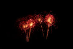 Colorful fireworks over dark sky, displayed during a celebration event. New Year colorful celebration fireworks Stock Photo