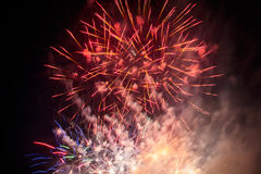 Colorful fireworks over dark sky Stock Photo