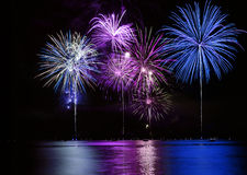 Free Colorful Fireworks Over Lake Stock Photos - 5197773