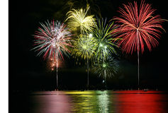 Colorful Fireworks over Lake Royalty Free Stock Photo