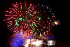 Colorful fireworks over a night sky Royalty Free Stock Photo