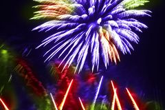 Colorful fireworks over a night sky Stock Photo