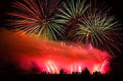 Colorful fireworks over night sky Stock Photo