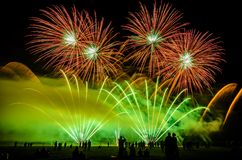Colorful fireworks over night sky Royalty Free Stock Photography