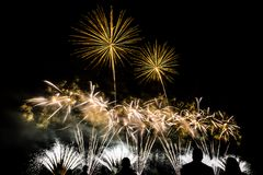 Colorful fireworks over night sky Stock Photography