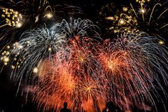 Colorful fireworks over night sky Royalty Free Stock Image