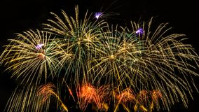Colorful fireworks over night sky. Colorful fireworks of various colors over night sky with spectators Royalty Free Stock Photography