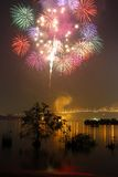 Colorful fireworks. Over river, Thailand Stock Photography
