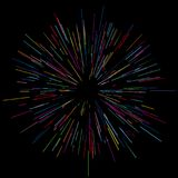 Colorful fireworks Radiating from the center of thin beams, lines. Dynamic style. Abstract explosion, speed motion lines. Colorful fireworks Radiating from the Stock Photos
