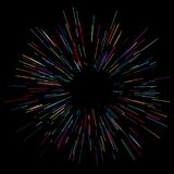 Colorful fireworks Radiating from the center of thin beams, lines. Dynamic style. Abstract explosion, speed motion lines. Colorful fireworks Radiating from the Royalty Free Stock Photography