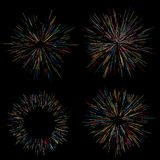Colorful fireworks Radiating from the center of thin beams, lines. Dynamic style. Abstract explosion, speed motion. Colorful fireworks Radiating from the center Stock Photo