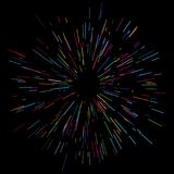 Colorful fireworks Radiating from the center of thin beams, lines. Dynamic style. Abstract explosion, speed motion lines. Colorful fireworks Radiating from the Stock Image