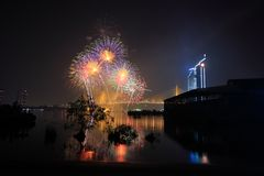 Colorful fireworks with reflection. Colorful fireworks on river with reflection Royalty Free Stock Photo