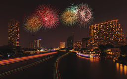 Colorful Fireworks in the river. Bangkok Thailand Stock Photo