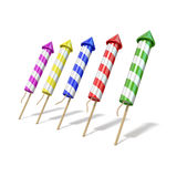 Colorful fireworks rockets. 3D render Royalty Free Stock Images