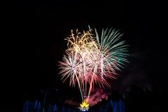Colorful fireworks at Royal Park Rajapruek, Chiang mai Thailand Royalty Free Stock Photo