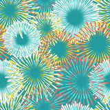 Colorful fireworks seamless pattern design. In blue colors. Vector illustration Royalty Free Stock Photo