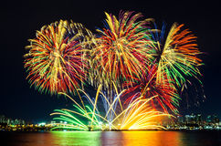 Colorful fireworks in Seoul ,South Korea Royalty Free Stock Images