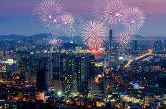 Colorful fireworks in Seoul ,South Korea. Stock Image