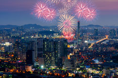 Colorful fireworks in Seoul ,South Korea. Royalty Free Stock Image