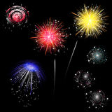 Colorful fireworks - set Stock Photo