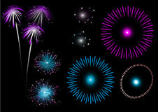 Colorful fireworks - set. Colorful fireworks - 2d vector set Royalty Free Stock Photography