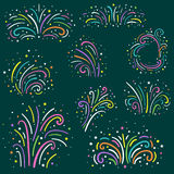 Colorful fireworks set . Holiday and party firework icons collection. Vector illustration. Colorful fireworks set . Holiday and party firework icons collection Stock Photos