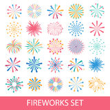 Colorful fireworks set isolated. On white background, vector Royalty Free Stock Images