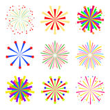 Colorful fireworks set isolated on white background, vector. Holiday and party firework icons. Colorful fireworks set isolated on white background, vector Royalty Free Stock Photos