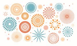 Colorful fireworks set. Colorful fireworks on white background. Isolated objects. Vector illustration. Flat style design. Concept for holiday banner, poster stock illustration