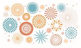 Colorful fireworks set. Colorful fireworks on white background. Vector illustration. Flat style design. Concept for holiday banner, poster, flyer, greeting card vector illustration