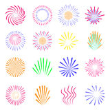 Colorful fireworks set  on white. Holiday and party firework icons collection. Vector illustration Stock Photos