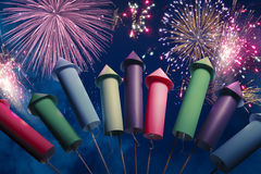 Colorful fireworks setup at night Stock Images