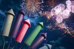 Colorful fireworks setup at night Royalty Free Stock Photos