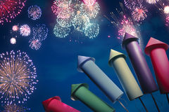 Colorful fireworks setup at night Stock Photo