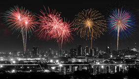 Colorful fireworks show Stock Photos