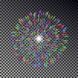 Colorful fireworks on sky. Firecracker vector isolated. Royalty Free Stock Image