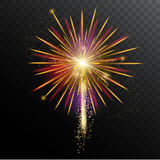 Colorful Fireworks Template. With sparkling flashing and light effects on dark background  vector illustration Royalty Free Stock Photography