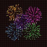 Colorful fireworks on transparent background for design. Vector illustration Royalty Free Stock Photos