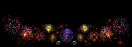 Colorful fireworks of various colors Royalty Free Stock Images