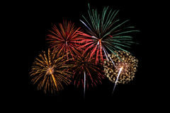 Colorful fireworks of various colors Stock Photo