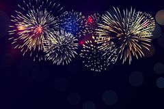 Colorful fireworks vector on black background. For celebrating events, new year, Christmas eve vector illustration