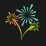 Colorful fireworks. Vector fireworks on black background, decorative elements Stock Photo