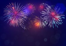 Colorful fireworks vector on dark blue background. With sparking bokehs royalty free illustration