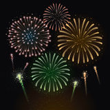 Colorful Fireworks Vector Illustration. Vector illustration of fireworks. Eps10 Stock Photos