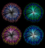 Colorful fireworks vector set Stock Photo