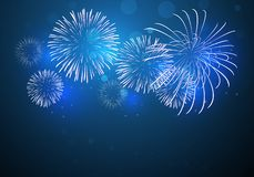 Colorful fireworks vector, sparkling in dark blue sky, fireworks for festive events. New year, Christmas, 4th July royalty free illustration