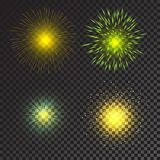 Colorful fireworks vector. On transparent background Royalty Free Stock Image